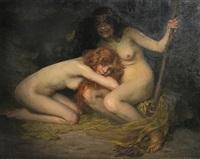 zwei junge nackte hexen in einer grotte by simon glücklich