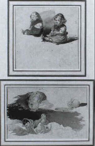 ZWEI KLEINE MADCHEN KEIN TITEL GEGEBEN by Leopold