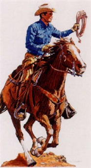 cowboy on horseback by jim smith