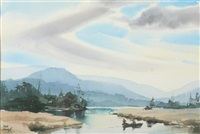 mountain landscape with lake and fishermen by john pike