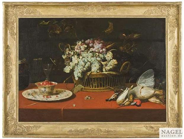 stilleben mit traubenkorb erlegten wildvögeln und erdbeeren in einer porzellankumme by frans snyders