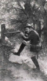 ein jäger, sein gewehr im anschlag haltend by sigmund vajda