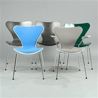 syveren chairs (model 3107 and 3207) (set of 5) by arne jacobsen