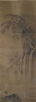 gelehrter am wasserfall by qi shoushan