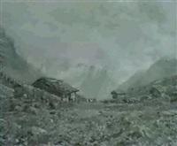 engstelenalp. vor den alphutten kuhherde, im hintergrund  verschneiter gebirgszug by charles way