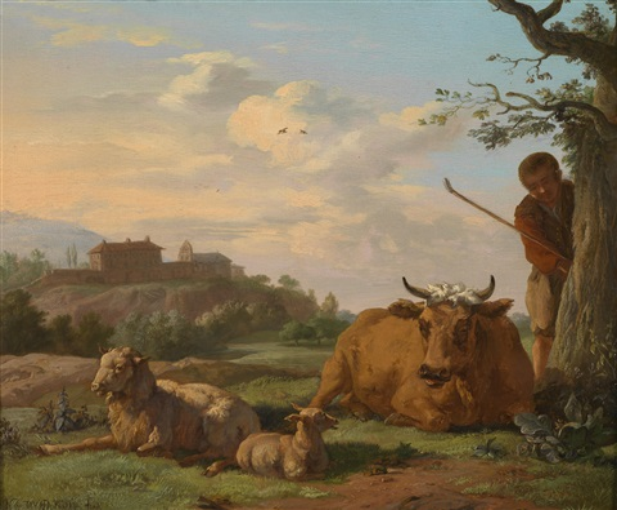 campagnalandschaft mit einem hirten und vieh by karel dujardin