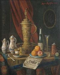 stilleben mit porzellan, obst, sektflasche und deckelhumpen by moritz mansfeld