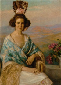 a spanish lady sitting on a balcony with hills beyond by josé nogué massó