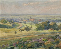 landschaft bei ettlingenweier by hermann goebel