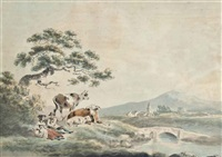 rustics in a landscape with cattle, a village beyond by julius caesar ibbetson
