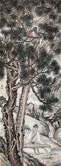 松下抚琴图 (playing zither under pine tree) by xu beiting