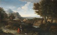 flusslandschaft mit einem alten orientalen und einem kind im vordergrund by gaspard dughet and guillaume courtois