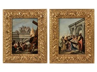 der gefangen genommene jesus wird dem volk vorgeführt (+ jesus wird das kreuz aufgelegt (pair) by francesco zugno the younger