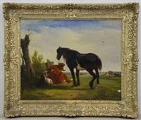cheval, vache et chèvre au repos by joseph jodocus moerenhout