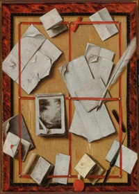 a trompe l'oeil still life with letters, a notebook, a drawing, a quill, a letter opener and red sealing wax by wallerant vaillant