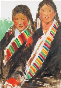 藏族姐妹 (tibetan girls) by ren zhiyu