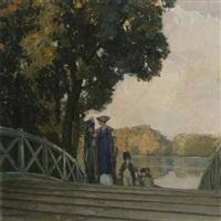 im schwetzinger schloßgarten (parkbrücke) by hermann göhler