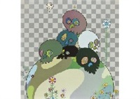 skulls rock; with reverence, i lay myself before you-korin-chrysanthemum (2 works) by takashi murakami