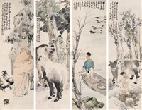 四时人物屏 (figures and four seasons) (in 4 parts) by xu xiang