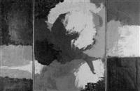abstrakte komposition in schwarz, grau, weiss und blau by egbert moehsnang