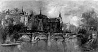 pariser stadtansicht mit seinebrücke by bruno martini