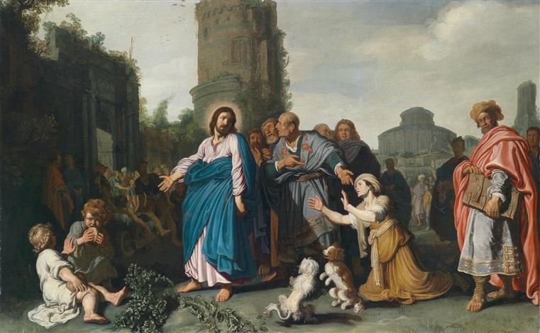 jesus und die kanaaniterin (matthäus 15, 22-28 und markus 7, 24-30) by pieter lastman
