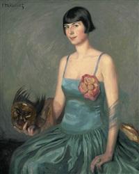 portrait einer jungen frau mit bubikopf im türkisblauen ballkleid mit indonesischer maske by isabella mikulicz-breyer