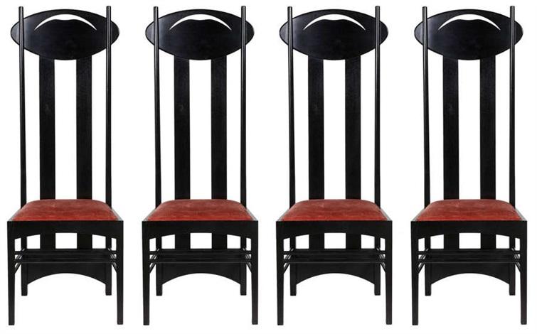 série de quatre chaises modèle argyle set of 4 by charles rennie mackintosh