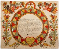 fraktur birth certificate for daniel and samuel romig (pair) by blousy angel