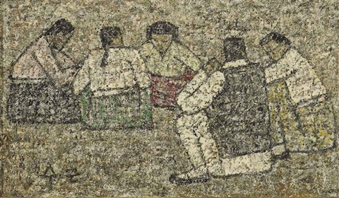 five seated figures by park soo keun