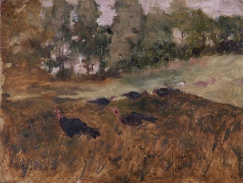 wild turkeys in the grass by arthur bowen davies