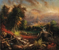 landscape with furnaces, probably charcoal burners by american school (19)