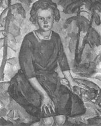 porträt eines mädchens im wald by eugen meyer-belart