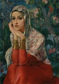 a turkish beauty in a garden by halil-bey mussaijassul