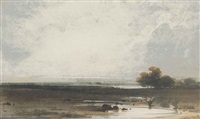landscape with flooded fields by george chinnery