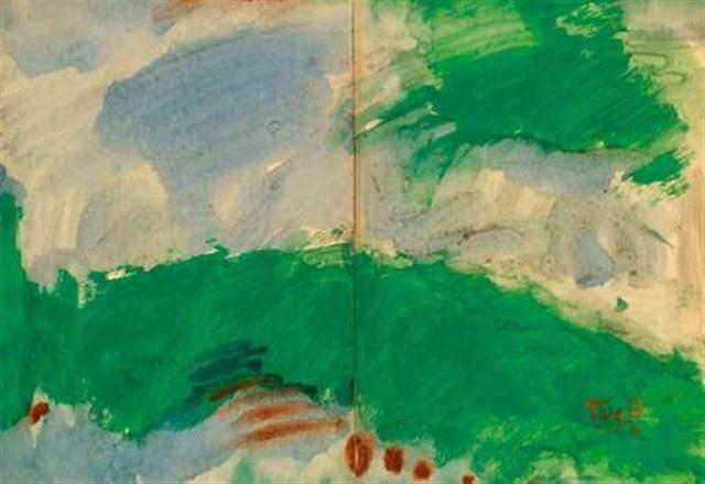 paysage bleu et vert diptych by tang haywen