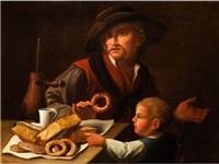 mann und knabe mit einem dessertstilleben by anonymous-italian
