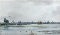 rockland broad, norfolk, with a hay barge on the river and a windmill by edward henry fahey