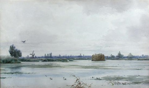 rockland broad norfolk with a hay barge on the river and a windmill by edward henry fahey