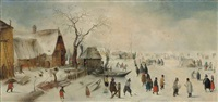 a winter landscape with skaters by hendrick avercamp