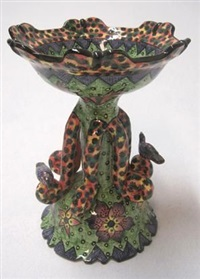 pedestal dish (made by layeki, painted by ottilin) by ardmore ceramics