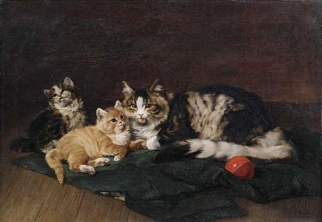 eine katzenmutter ruht mit ihren beiden kätzchen auf einer grünen decke by julius adam the younger