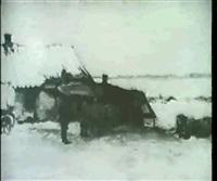 winterlandschaft mit staffagen by lajos gimes