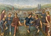 kinder beim fischen vor zürcher stadtkulisse by hermann huber