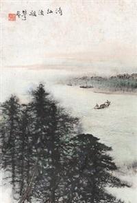 清江渔艇 镜片 设色纸本 by li xiongcai