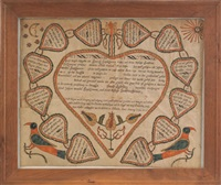 untitled (fraktur birth certificate for johann hupscshmann) by christian mertel