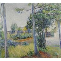 paesaggio con case e alberi by mario lannes