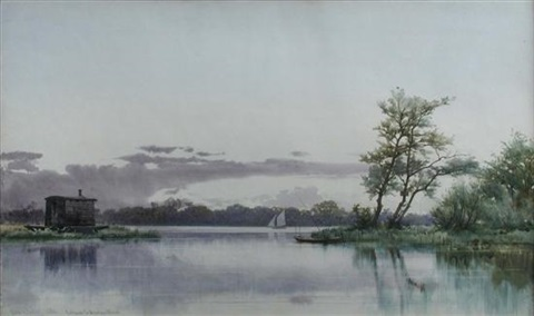 entrance to wroxham broad norfolk with a shepherds hut on the bank by edward henry fahey