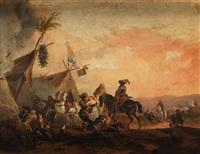 campamento militar con soldados bebiendo en el cerf blanc by dirk stoop