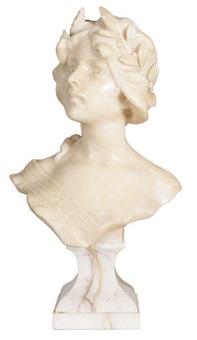 buste d'une fille portant une couronne de lauriers by george van vaerenbergh